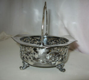 Antique Derby Silver Co Silver Plate Reticulated Footed Basket