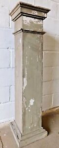 1910s Wooden Antique Tapered Porch Column With Cap Base Craftsman Style Ornate