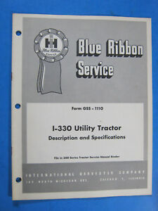 International Ih I 330 Utility Tractor Service Manual