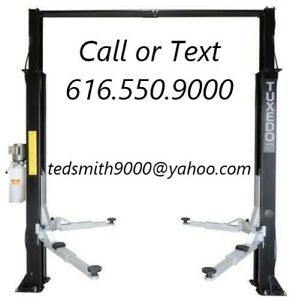New 9 000 Lbs 9k Tuxedo 2 post Auto Lift Asymmetric With Free Truck Adapters