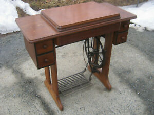 Singer Sewing Machine Wooden Base Treadle Vintage Unusual