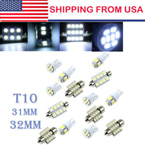 14x White Led Light Interior Package Kit For T10 31mm Map Dome License Plate