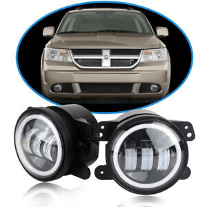 Pair 4inch Led Fog Lights Drl Halo Driving Lamps Yellow For Dodge Journey Magnum