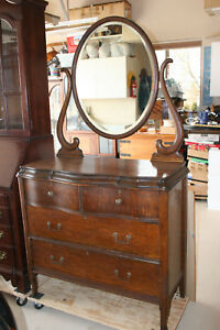 Antique 1950s Empire Oak Chest Of Drawers With Mirror