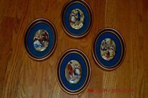 Vintage Set Of 4 Oval Picture Frames With Gorgeous Colonial Porcelain Centers