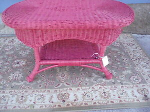 Vintage Painted Wicker Coffee Table Or Plant Stand