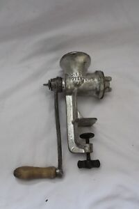 Vintage Keystone 10 Meat Grinder Wooden Handle Working Condition