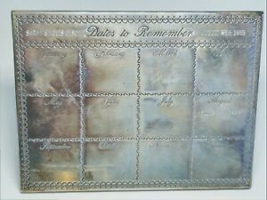 Vintage Sterling Silver Dates To Remember Custom Engraved Desk Calendar 1989