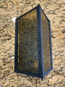Vintage Mid Century Triangle Amber Glass Porch Patio Light Fixture 1960 1970