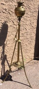Antique Piano Organ Brass Floor Lamp Parlor Crow Feet