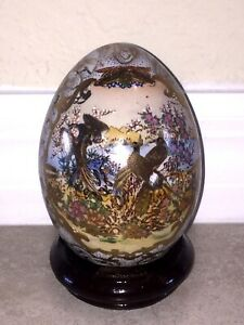 Beautiful Collectible Satsuma Gilded Enamel Porcelain Egg Peacocks