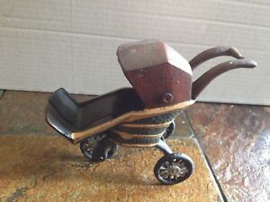 Vintage Unbranded 3 Wheel Baby Doll Buggy Stroller W Cover Cart Cast Iron Rare