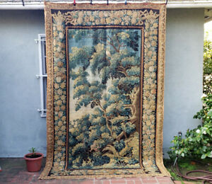 A Good 18th Century Verdure Tapestry With Birds Squirrel