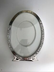 Antique Sterling Silver Oval Picture Frame 11 3 4 X 8 5 8 New York 1900 S Deco