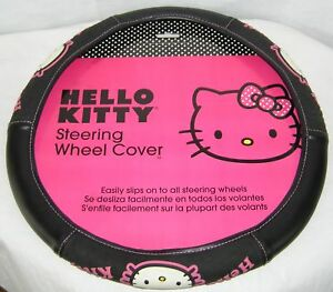 Hello Kitty Steering Wheel Cover Car Truck Boat Black Pink New Hard To Find
