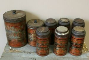 Antique 8 Piece Metal Ymc American Can Company Spice Canister Set