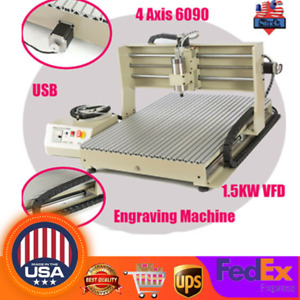 4 Axis Usb Cnc 6090 Router Engraver Engraving Milling Cutting Machine 1 5kw Vfd