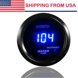 Hotsystem 2 52mm Blue Digital Led Fahrenheit Water Temp Temperature Gauge Blk