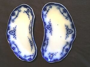 2 Antique 1878 1894 Portsmouth Blue Bone Plates By New Wharf Pottery England