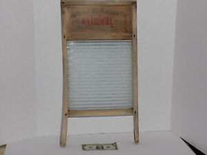 Vintage Antique National Washboard Co No 512 Wood Ribbed Embossed Victory Glass