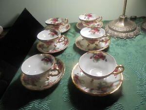 Vintage Royal Sealy China 3 Footed Tea Cup And Saucer Set Pink