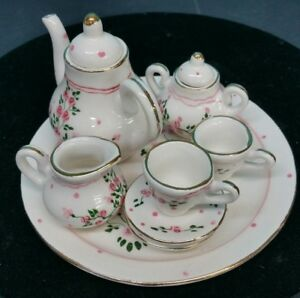 Beautiful Antique Miniature Porcelain 8 Piece Coffee Tea Set Hand Painted
