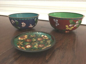 Antique Chinese Cloisonne Enamel Bowl And Dish