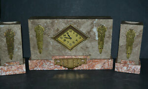 Art Deco Marble Mantel Clock Garniture Set Vintage Circa 1930