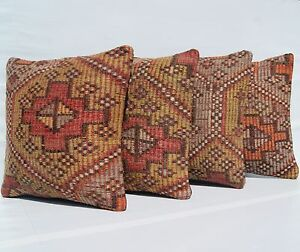 Multi Colored Pillows Kilim Rug Hand Woven Turkish Square Wool Area Rugs 16 X16