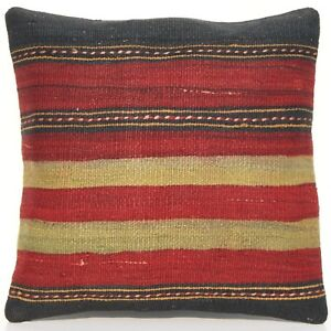 18 Square Striped Pillow Cover Turkish Kilim Handmade Red Wool Area Rugs 30