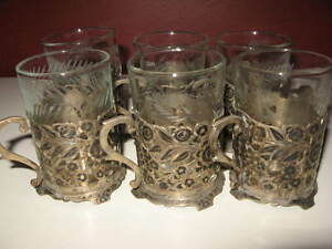 Antique Old Vintage Persian Silver Tea Set Of 6 Floral Design Cup W Glass