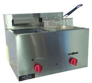 Metal Supreme Fm2118ge Gas Countertop Fryer 2 Baskets 9 Liters Ea