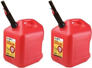2 Ea Midwest Can Co 5610 5 Gallon Gas Cans W Flameshield Shut Off Spout