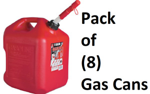 8 Ea Midwest 5600 5 Gallon Red Poly Gas Gasoline Fuel Cans W Spill Proof Spout