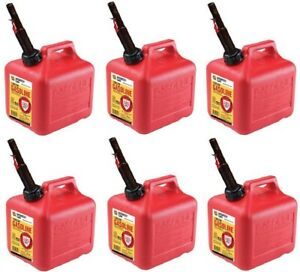 6 Ea Midwest Can Co 2310 2 Gallon Gas Cans W Flameshield Shut Off Spout