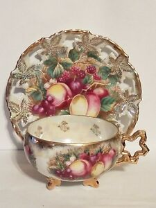 Royal Sealy Fine China Cup Saucer Luster Ware Euc Fruit Gold Trim Antique
