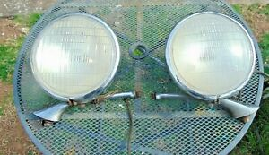 Original 1934 Chevrolet Headlight Asemblies with Stanchions