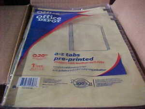 Full Case Of 12 Office Depot Brand A z Tabs For 3 Ring Binder 8 1 2 X 11
