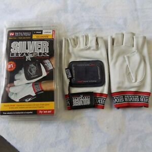 Brand New Case Of 6 Silver Back Magnetic Gloves 6 Pair Set Large Free Shipping