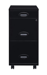 Lorell 18 3 drawer Black Mobile Mini File Cabinet Lockable Filing With Lock New