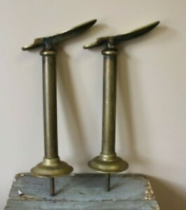 Pair Of Antique Solid Brass Cobbler Shoe Shine Stands Foot Rests