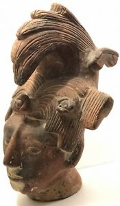 Head Of King Pakal Of Palenque Clay Mayan Sculpted Mexico 14 H
