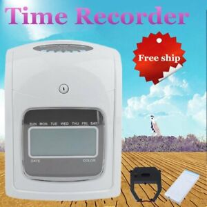 Employee Attendance Punch Time Clock Payroll Recorder Lcd Display W 50 Cards To