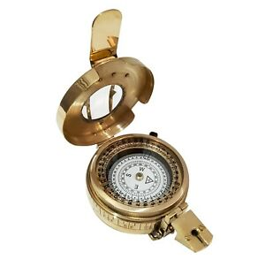 Shiny Brass Fully Functional Compass Antique Nautical Handmade Navigation Device