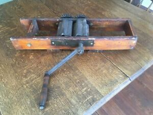 Antique Primitive Wooden Wine Grape Fruit Crusher Featuring A Hand Roller Crank