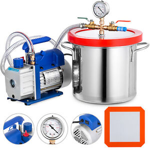 2 Gallon Vacuum Pump Chamber And 3 Cfm 50 L Min Chamber 7 6l Resin Mold Great