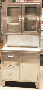 Vintage Serv queen Medical Stainless Steel Glass Cabinet Narcotics 36 X 16 X 79