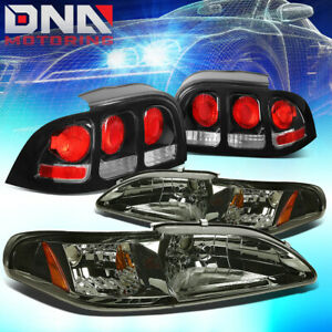 Fit 94 98 Fitd Mustang Smoked Housing Amber Corner Headlights Altezza Tail Lamps
