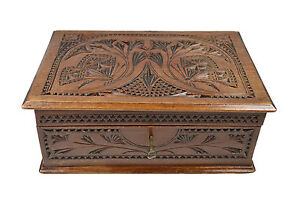 Antique Frisian Chip Carved Jewelry Chest Dutch