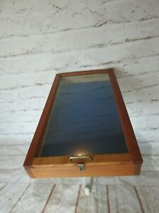 Vintage Tabletop Wood Glass Rectangular Showcase Display Case 30 X 17 X 4